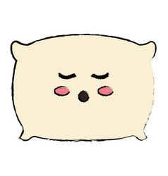 Pillow bed kawaii character vector