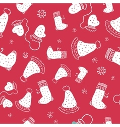 Seamless pattern with christmas socks and hats vector image