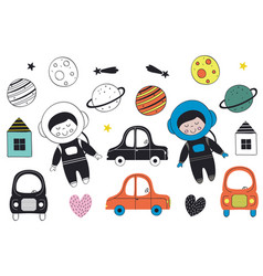 Set of isolated boy cosmonaut and elements vector