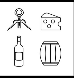 Take out cork cheese barrel and bottle of wine vector