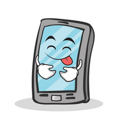 Tongue out smartphone cartoon character vector
