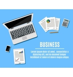 Top view of Workplace with Copy Space vector image vector image