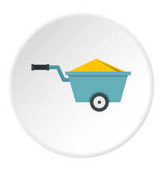 Wheelbarrow full of sand icon circle vector