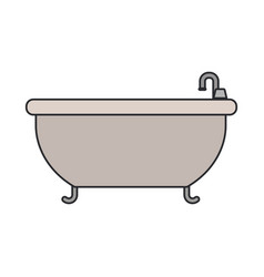 White background with color silhouette of bathtub vector