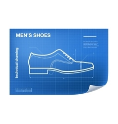 Wireframe with shoe drawing on the vector