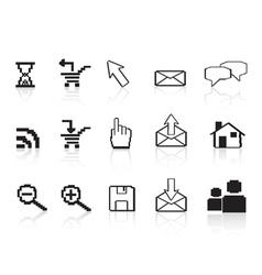 pixel computer icons vector image