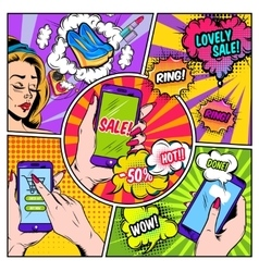 E-commerce comics page vector