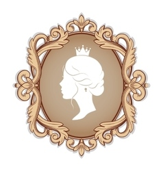 profile silhouette of a princess in frame vector image