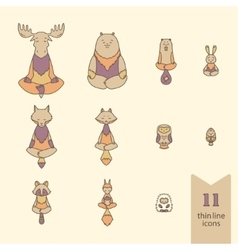 Meditative animals icons vector