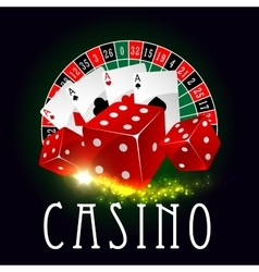 Casino wheel of fortune poker cards poster vector