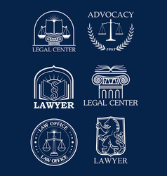 advocacy or lawyer legal icons set vector image