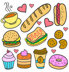 Doodle of element food various set vector