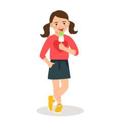 Cute girl with sweet icecream cone vector