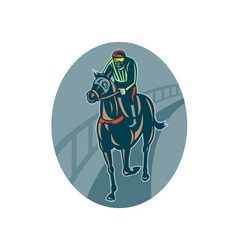 Horse and jockey racing race track vector
