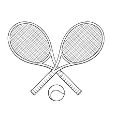 two tenis rackets and ball vector image