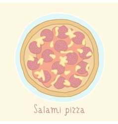 Salami pizza vector