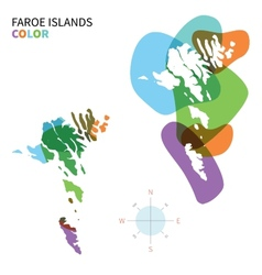 Abstract color map of faroe islands vector