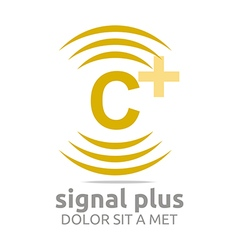 Logo signal letter c plus yellow alphabet wireless vector