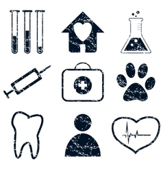 Medical icons set grunge vector