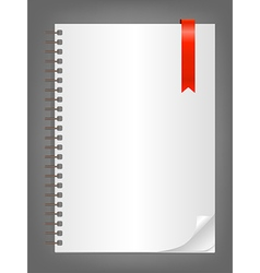 Notebook with blank white sheet vector