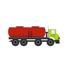 Truck with fuel tank flat icon vector