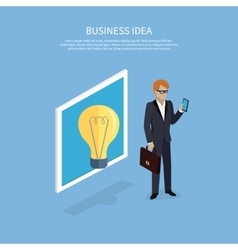 Business Idea Man with Smartphone Design Flat vector image
