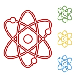 Atom set of line icons vector