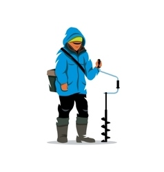 Winter fishing cartoon vector