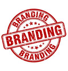 branding red grunge round vintage rubber stamp vector image