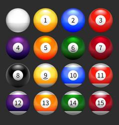 Set of pool balls vector image