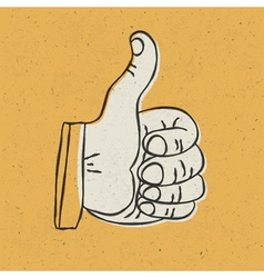 Retro thumbs up vector