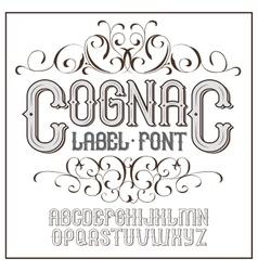 Vintage label font cognac style vector