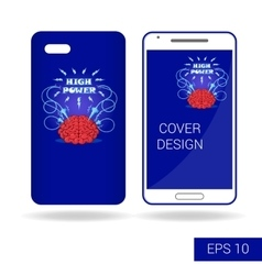 Design cover smartphone with funny human brain vector image