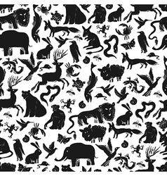 animals silhouettes pattern seamless vector image vector image