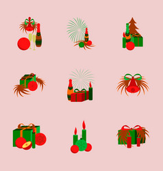 Assembly flat christmas tree bells toys vector