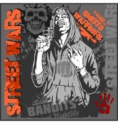 Bandit and gun Man with revolver vector image vector image