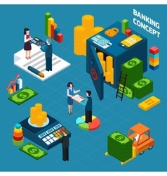 Banking Isometric Design Concept set vector image