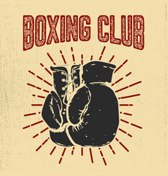 Boxing club hand drawn boxing gloves on grunge vector