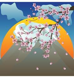 Branch of Sakura and Volcano2 vector image vector image