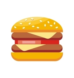 Burger hamburger isolated flat design vector