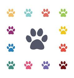 Cat footprint flat icons set vector