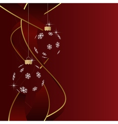Christmas greeting card - baubles and ribbons vector image