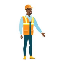 Constructor with arm out in a welcoming gesture vector