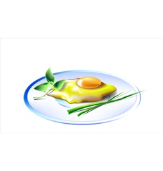 Egg on white plate vector