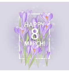 Floral frame with crocuses and snowdrops Purple vector image vector image