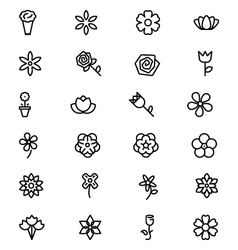 Flowers and floral line icons 3 vector