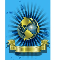 Golden Globes on blue vector image vector image