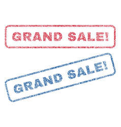 Grand sale exclamation textile stamps vector