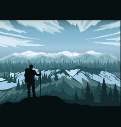 hiker enjoying landscape mountain peaks vector image