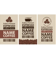 Label coffee with coffee beans and cup vector